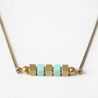 Geometric square bar necklace -Mint