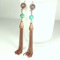 Copper Tassel Earrings Shoulder Duster with Turquoise 5 inch
