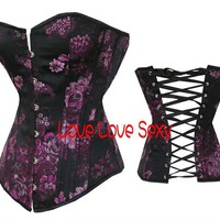 Buy corset, wholesale sexy lingerie, fashion top, Free shipping!! Wholesale bustier Rose + black sexy corset satin corset sexy bustier ladies corset S-2XL 6002 at Aliexpress.com