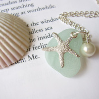 Sea Glass Starfish Necklace in Seafoam Blue with fresh water pearl - Bridesmaids Beach Wedding necklace - Mermaid jewelry FREE SHIPPING