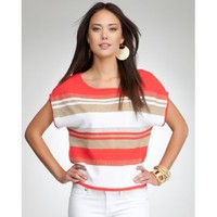 bebe Lurex Stripe Crop Sweater Top $69.00