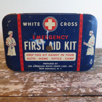 White Cross Emergency First Aid Kit Vintage Medical Kit Emergency Kit Vintage Tin