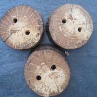 Unique Oak Wooden Buttons Nature Inspired Wood Tree Branch Buttons for Knitting, Crochet, Journals, Totes and Clothing (Set of 3)