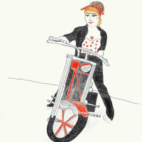 Rockabilly Motorcycle Woman 5x7 Drawing Art Print