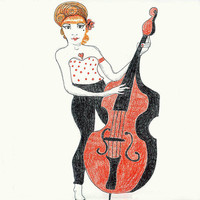 Art Drawing Print Rockabilly Bass Player Woman 5x7