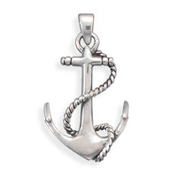 Oxidized Sterling Silver Anchor Pendant  - Nautical Jewerly -  Wooden Ship Models, Nautical Decor &amp; Gifts - GoNautical