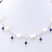Freshwater Pearl Choker – Purple Swarovski Crystal Wire Wrap Chain Necklace - Unique Jewelry – Mothers Day Gift