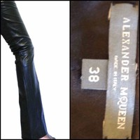 Alexander Mcqueen Black Nappa Leather  Classic Pants Nwt Size 38 /2 Soft $4087