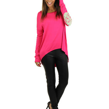 Fuchsia Top With Lace Elbow Patches