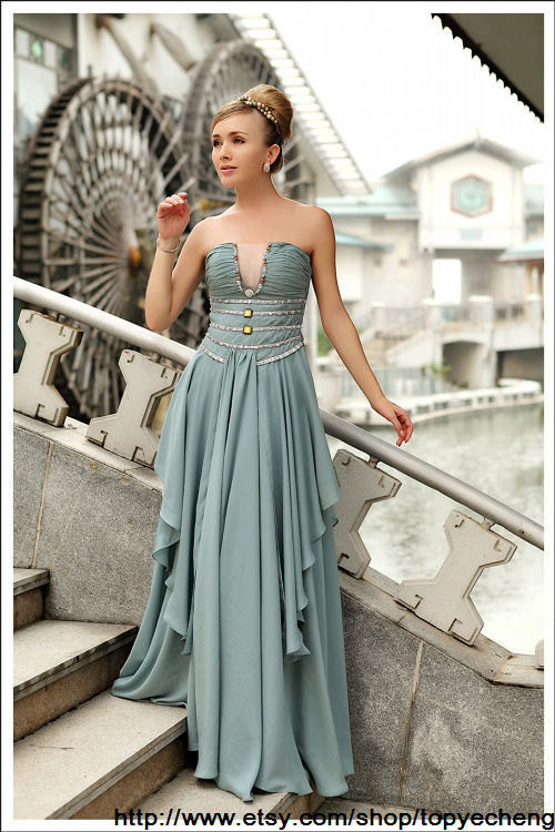 blue prom dress evening dress strapless rhinestone by topyecheng