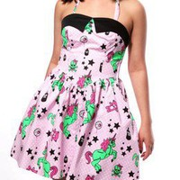 Hell Bunny I Heart Zombie Unicorns Pink Dress Size S