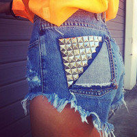 HIGH WAISTED STUDDED shorts (Made to Order)