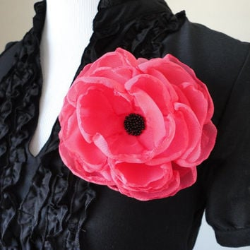 Coral Fabric Flower Hair Clip JENNY  Pink Chiffon Flower Large Hair Accessory Brooch