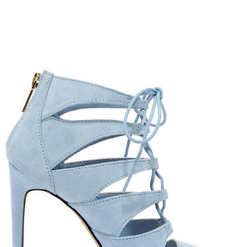 Madden Girl Raceyyy Baby Blue Suede Lace-Up Heels