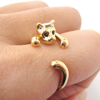 Realistic Kitty Cat Shaped Animal Wrap Around Ring in Shiny Gold | US Size 3 to Size 8.5 -