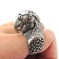 Realistic Parrot Bird Shaped Animal Wrap Around Ring in Silver | Sizes 6 to 10 Available -