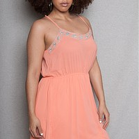 Chiffon Plus-Size Slip Dress with Embroidered Aztec Details - Peach