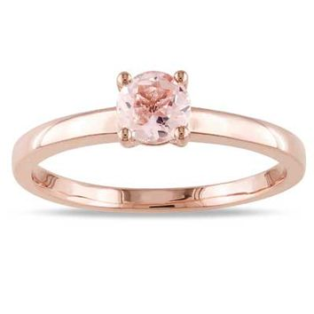 5.0mm Morganite Solitaire Promise Ring in 10K Rose Gold