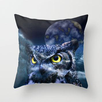 Owl and Moon Throw Pillow by Erika Kaisersot