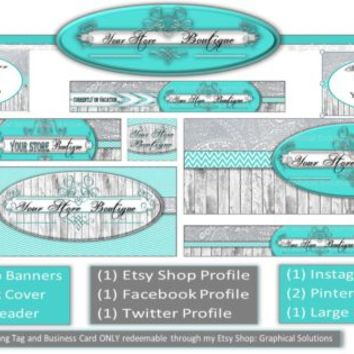 Business Graphic Design Social Network Page Combo Package Turquoise Barnwood