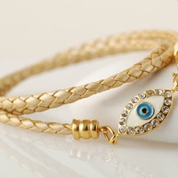 Gold Leather bracelet, womens leather bracelet with evil eye charm, womens jewelry