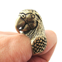 Realistic Parrot Bird Shaped Animal Wrap Around Ring in Brass | Sizes 6 to 10 Available -