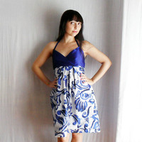Royal Blue formal dress party dress in cotton muslin - halter dress babydoll dress