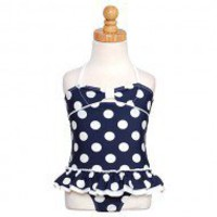 Kate Mack Little Girls Navy White Dot Ruffle 1pc Swimsuit
