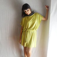 Green lime tunic dress with black collar - women tshirt dress - Fall fashion - one size fits all