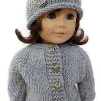 Hat and Sweater set Gray American Girl Doll