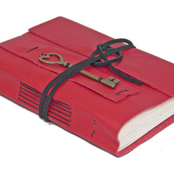 Red Leather Journal with Heart Key Bookmark - Ready to Ship -