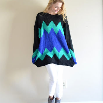 Vintage International Chevron Sweater Royal Blue Teal Zig Zag Striped Jumper Oversize Hipster Sweater Large Lg L Medium Med M Slouchy Chunky