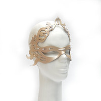 Creme ecru color leather mask with pearls for parties bridal weddings special gifts sweet 16 birthdays mardi gras halloween masquerade