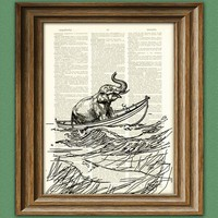 Lost at Sea ELEPHANT on a boat illustration beautifully upcycled dictionary page book art print