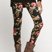 Nollie Black Floral Print Leggings at PacSun.com