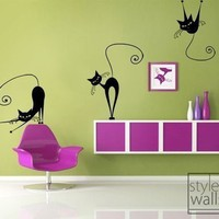 Set of 3 Naughty Cats Vinyl Wall Decal by styleywalls on Etsy