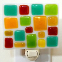 Fused Glass Nightlight - Mosaic Green, Yellow and Red