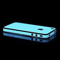 For Apple AT&T Verizon iPhone 4 iPhone 4S Glow in the Dark Blue OEM SlickWraps Protective Skin