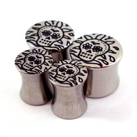 "Sugar Skull Double Flared Plugs - Stainless Steel - 2g 0g 00g 7/16"" (11 mm) 1/2"" (13mm) 9/16"" (14mm) 5/8"" (16mm) - Metal Gauges"