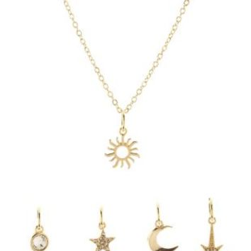 Celestial Mixed Charm Necklace by Charlotte Russe - Gold