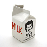 Hello is it Me Lionel Richie ceramic milk carton pitcher