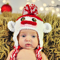 Sock Monkey Hat 3m to 6m Baby Girl Boys Red White Crochet READY to SHIP Photo Prop Clothes Gender Neutral Halloween Costume CHRISTMAS