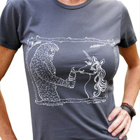 Sasquatch &amp; Unicorn Women&#x27;s Graphic Tee Shirt-Hand Printed Cotton-Asphalt Grey