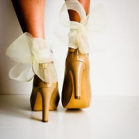 Ivory Abstract Bow Ankle Cuffs
