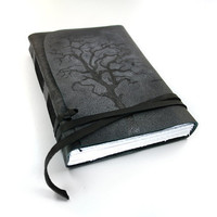 Halloween Black Journal - Leather Handmade Journal, Diary, Sketchbook, Notebook, Photo Album - Tree Shadow