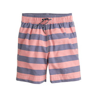 crewcuts Boys Oxford Cloth Swim Trunk In Peach Blue Stripe