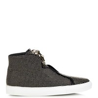 Medusa studded high-top leather trainers