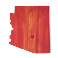 State Cut Out wall art in red, orange and yellow sunset blend, optional city heart, state love, Arizona state wall decor, made to order