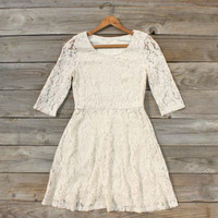 Native Rose Dress in Cream, Sweet Women's Bohemian Clothing