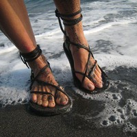 Chocolate Brown Maori Sandal by TreadLightGear on Etsy